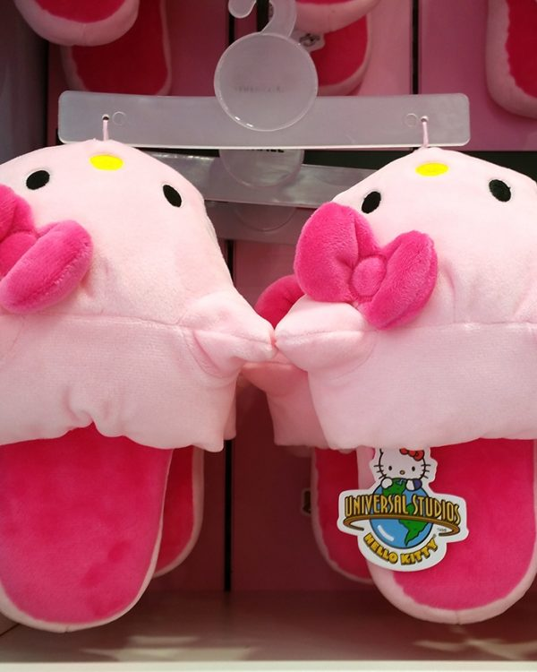 Hello Kitty Friends Universal Studios Plush Slippers Pink Hello Kitty