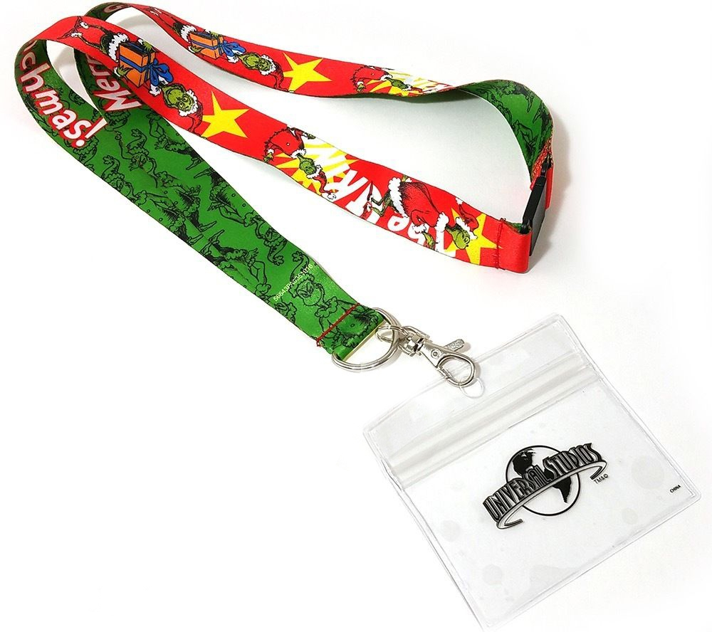 Dr Seuss The Grinch Universal Studios Merry Grinchmas Red Reversible Lanyard