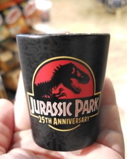 Jurassic Park JP 25th Anniversary Logo Universal Studios Black Shot Glass