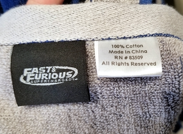 Fast and Furious Supercharged Universal Studios Beach Towel - Muscle Car Club Blue