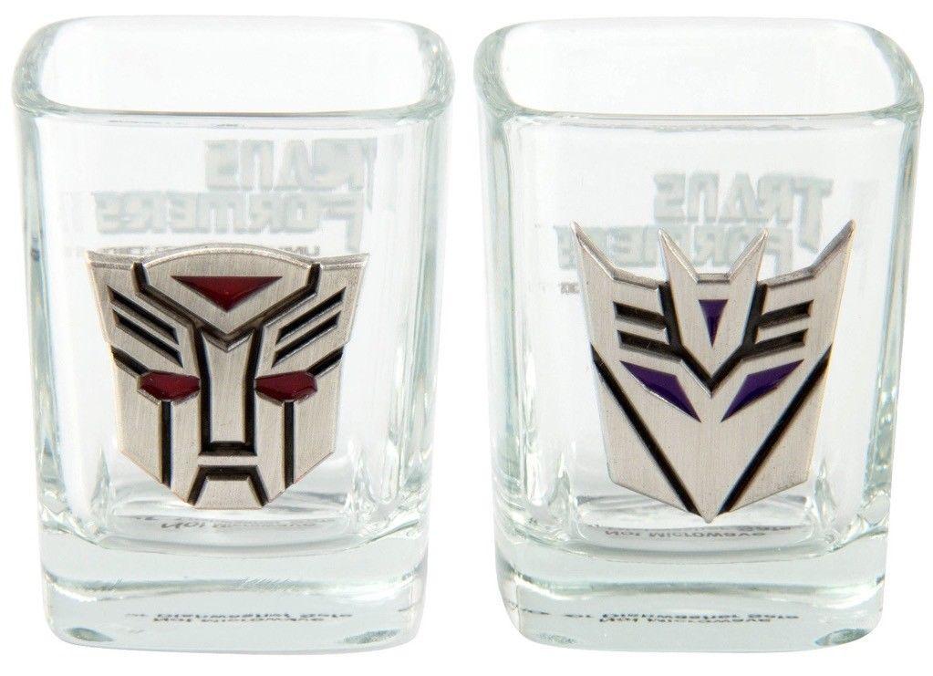 Transformers Universal Studios Shot Glass Set – Metal Autobot Decepticon Logo