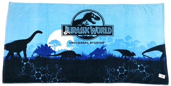 Jurassic World Universal Studios Beach Towel - Dinosaurs Blue Silhouette 30x60