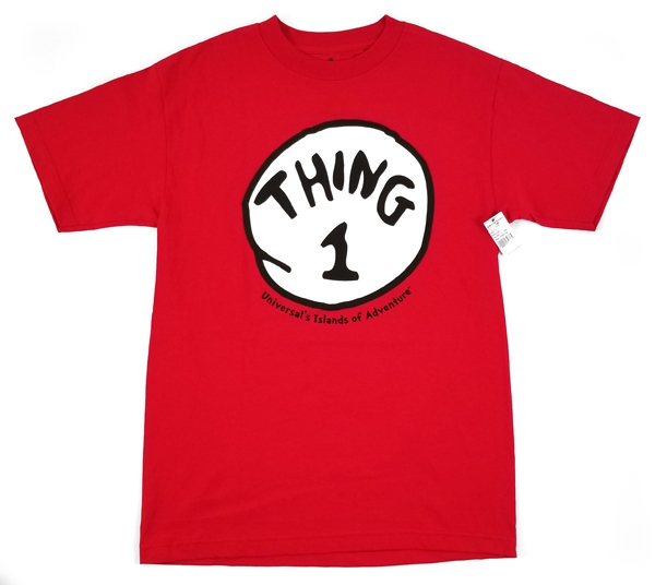 Dr Seuss Cat in the Hat Universal Studios Men's Shirt – Thing 1 Red