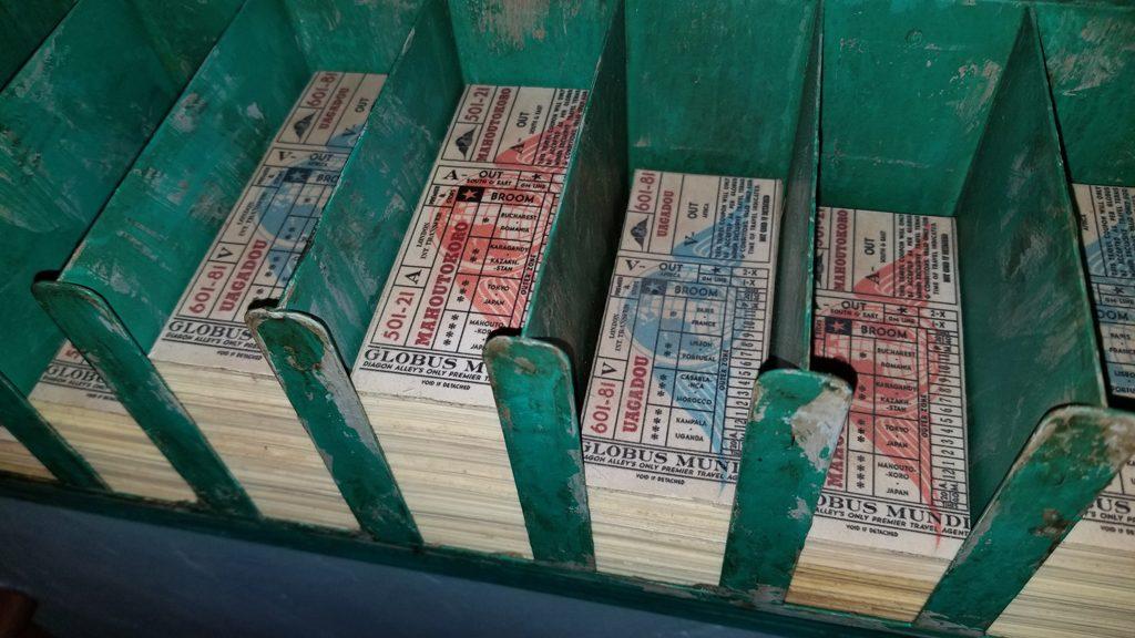 Fake Globus Mundi travel tickets beside the register | Photo @HedgehogsCorner