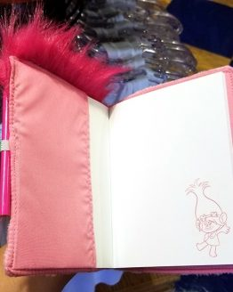 Trolls Movie Dreamworks Universal Studios Parks Poppy Pink Fuzzy Notebook & Pencil Set