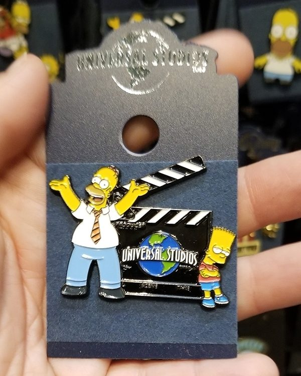 The Simpsons Universal Studios Parks Pin - Movie Clapperboard w/ Homer and Bart