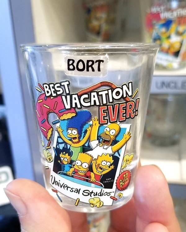 The Simpsons Universal Studios Parks Shot Glass - Polaroid Family Best Vacation Ever BORT