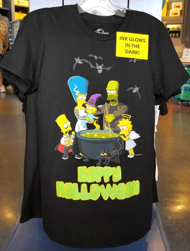 Simpsons Halloween Shirt.The Simpsons Universal Studios Parks Halloween Glow In The Dark Adult Shirt