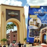 Metal Earth Universal Studios Florida Entrance Arch 3D Model Kit Pictured with the Actual Park Icon at the Universal Orlando Theme Park