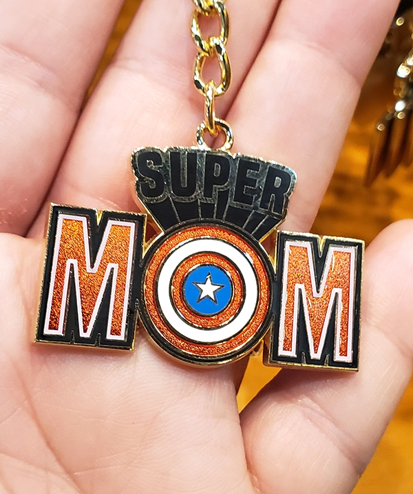 Super Mom Captain America Shield Keychain Keyring - Universal Studios Parks Exclusive Merchandise