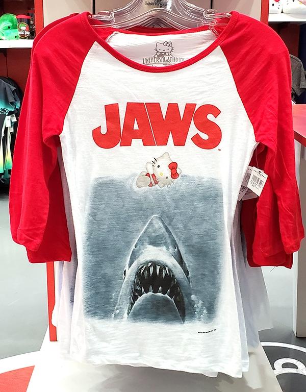 Hello Kitty Universal Studios Parks Red White Ladies Raglan Shirt Jaws
