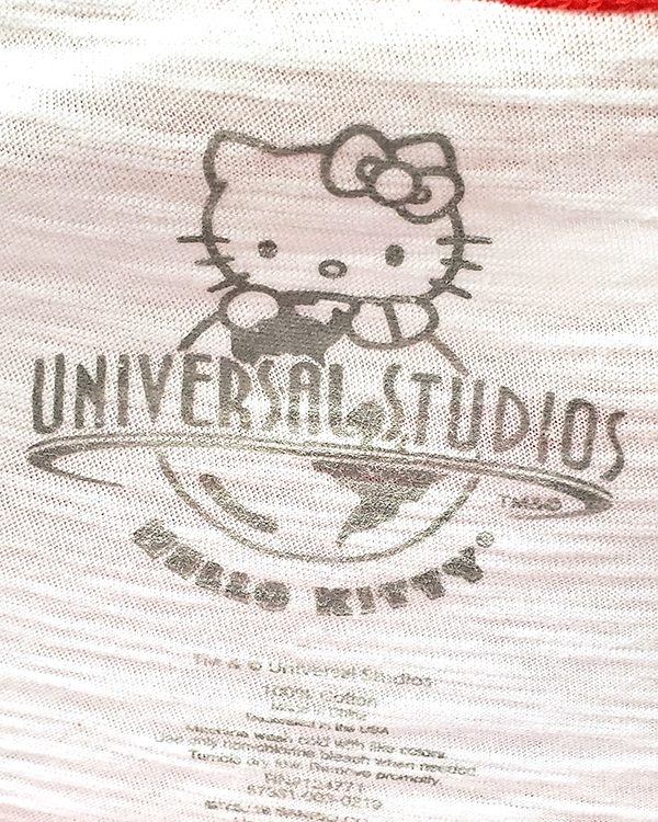 Hello Kitty Universal Studios Parks Red White Ladies Raglan Shirt Jaws