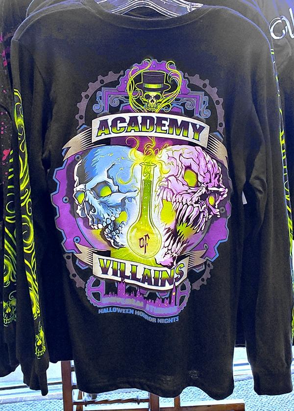 Halloween Horror Nights Universal Studios Parks HHN 2019 Academy of Villains Long Sleeve Adult Shirt