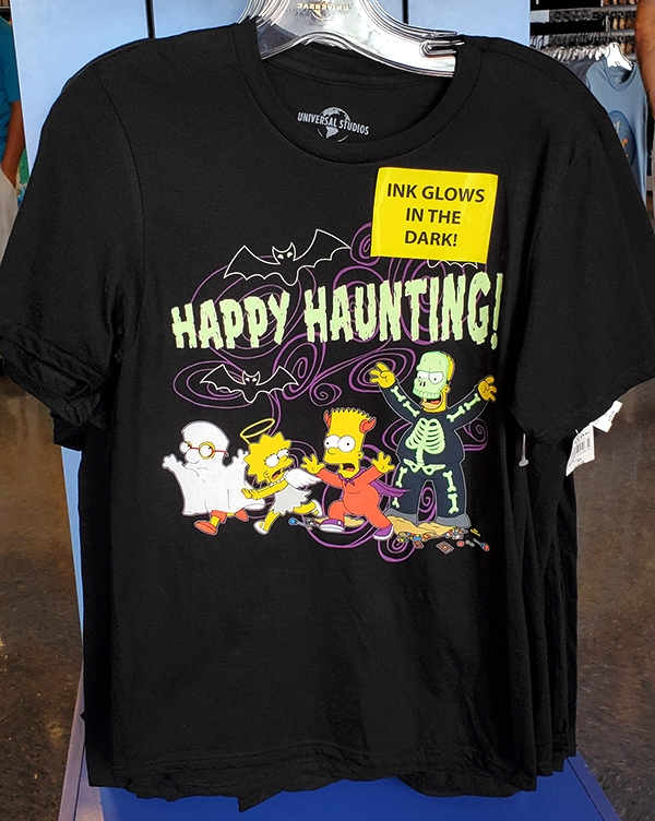 The Simpsons Universal Studios Parks Halloween Glow in the Dark Trick or Treat Adult Shirt