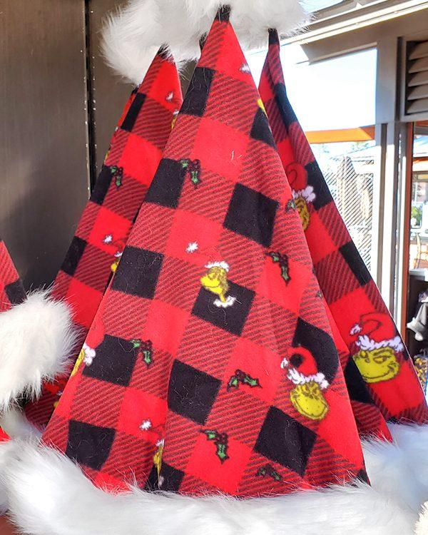 The Grinch Universal Studios Parks Christmas Red Plaid Santa Hat Sleep Nightcap