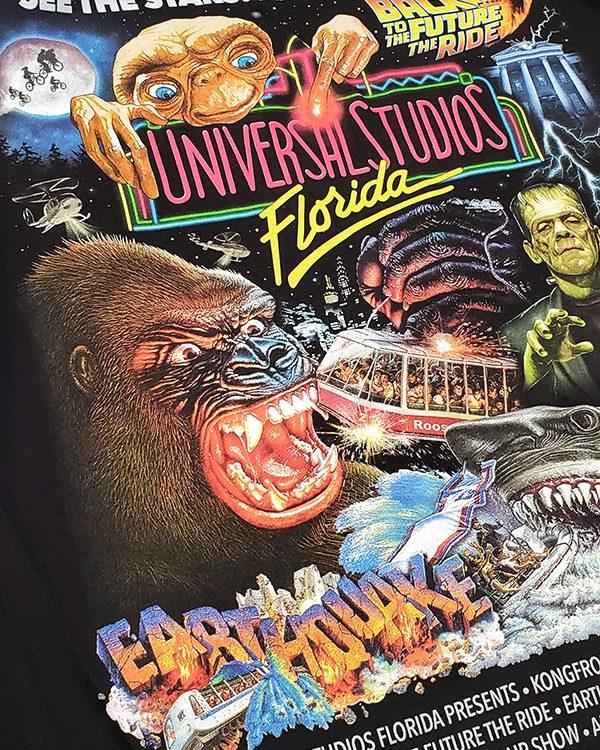 Universal Studios Florida Parks 30th Anniversary Retro Rides Neon Ringer Shirt