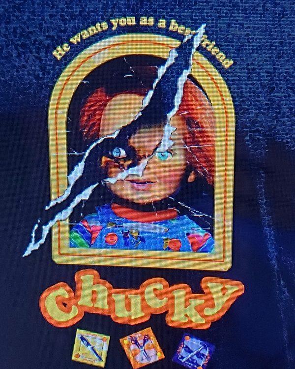 Halloween Horror Nights Horror Ink (Men's or Ladies) Shirt Chucky Doll Box