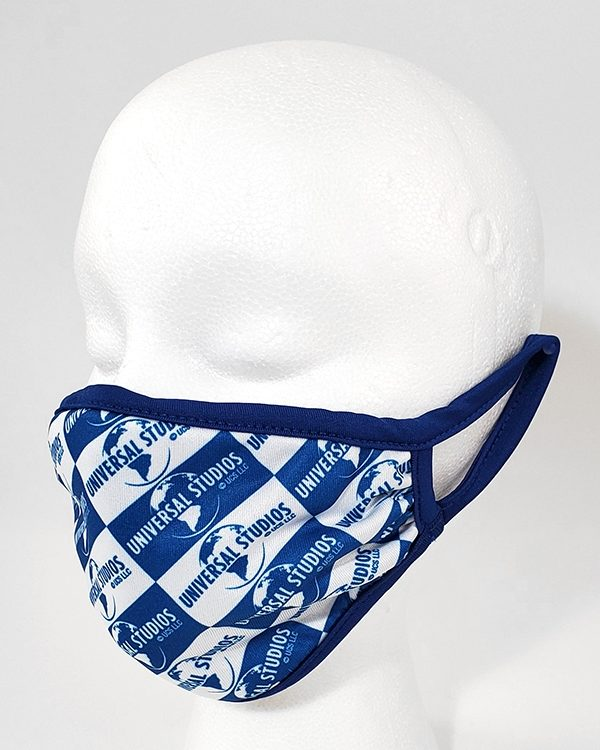 Universal Studios Parks Face Mask - Blue & White Check Pattern Universal Globe Logo